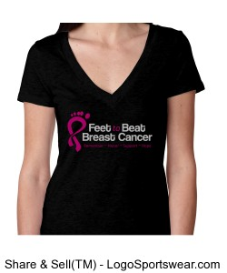 Feet to Beat ladies deep v-neck tri-blend Design Zoom