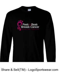 Feet to Beat Breast Cancer Long Sleeve T-Shirt Design Zoom