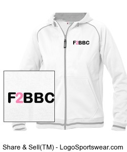Feet to Beat Breast Cancer Full Zip Grace Sweatshirt - Ladies White Design Zoom